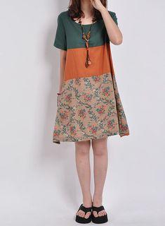 Green linen dress maxi dress short sleeve by originalstyleshop, $59.90