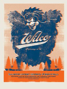 """Washington's Sasquatch festival continues to be a premier music festival and this gig poster was created for a 2008 appearance by Wilco. Measuring 19"""" x 25"""", artist Mark McDevitt has signed and number"""