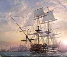 Линейный корабль HMS Victory, флагман Нельсона.Спущен на воду 7 мая 1765 г, принял участие во многих морских сражениях,самое знаминитое конечно же при Трафальгаре.