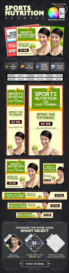 Sports Nutrition Banners Template PSD | Buy and Download: http://graphicriver.net/item/sports-nutrition-banners/7076322?WT.ac=category_thumb&WT.z_author=doto&ref=ksioks