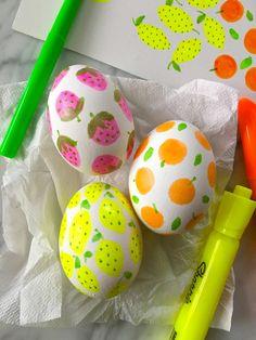 Fruit highlighter pen decorated Easter eggs
