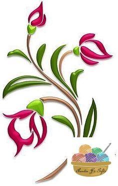 Flowers – Illustrations – Art & Islamic Graphics Flowers – Illustrations – Art & Islamic Graphics Image Size: 453 x 716 Source Stencil Patterns, Stencil Painting, Stencil Designs, Fabric Painting, Glass Painting Designs, Fabric Paint Designs, Hand Embroidery Designs, Embroidery Patterns, Illustration Blume