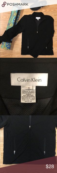 bcdf9c35d43 Black Calvin Klein Warm-Up Performance Zip Up This black athletic jacket is  the perfect