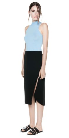 PINACLE KNIT POLO (blue) - by Dion Lee. #Formfitting #sleeveless #tank #turtleneck