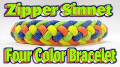 How To Make A Paracord Modified  Four Strand Zipper Sinnet {4 Colors} Br...