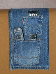 Recycled Jeans Crafts | Remote control holder. Great way to repurpose jeans