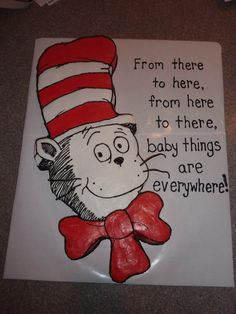 CAKE IDEA ~ Cat in the Hat Baby Shower Cake