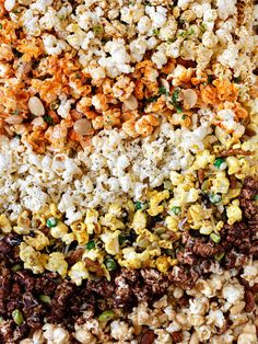 ½ cup popcorn kernels (which will yield about 12 cups popped popcorn) and cook it however is easiest for you: stovetop, air popper, or the good ol' microwave.