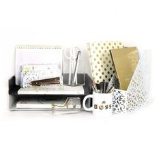 Black White and Gold Desk Collection