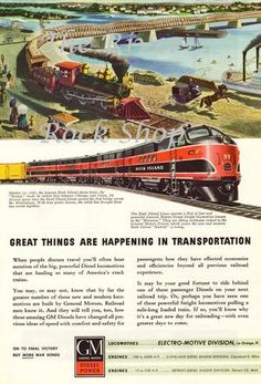 Then and Now GM Diesel Train Engines Vintage by riverrockshop Vintage Advertisements, Vintage Ads, Great Northern Railroad, Train Posters, Train Engines, By Train, Advertising Poster, Train Travel, Model Trains