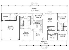 Lovely Plan 2575DH: Country Ranch With Optional Elevation. Rectangle House ...