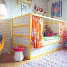 51 Cool Ikea Kura Beds Ideas For Your Kids Rooms. The Ikea beds are elegant furniture among the many product lines found at the Ikea stores in different countries. Big Girl Rooms, Boy Room, Kids Rooms, Diy Lit, Yellow Bedding, Yellow Bedrooms, Bedding Sets, Ideas Habitaciones, Kid Beds