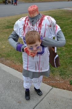 Scary DIY Headless Football Player Halloween Costume...