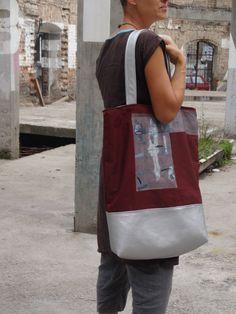 Large Tote Bag Urban Glam Hand Painted OOAK Canvas by koatye1