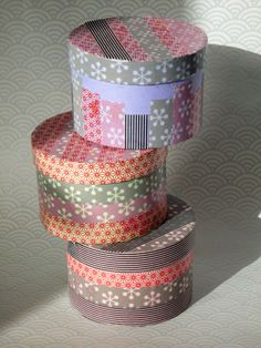 Masking Tape En Boites ! #maskingtape #washitape #box Washi Tape Storage, Washi Tape Crafts, Washi Tapes, Fabric Tape, Paper Tape, Colored Masking Tape, Cute Presents, Cute Box, Decorative Tape