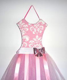 Pink tutu bow holder, Damask tutu bow holder, hair clip holder, bow holder, tutu bow hair accessories holder. $25.00, via Etsy.