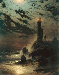 the-hardest-of-hearts-survive:Hermann Eschke, Lighthouse on a Cliff by Moonlight, 1879 Fantasy Landscape, Landscape Art, Landscape Paintings, Fantasy Art, Moonlight Painting, Image Nature, Lighthouse Art, Images Vintage, Photo D Art