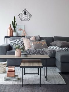 grey and copper living room