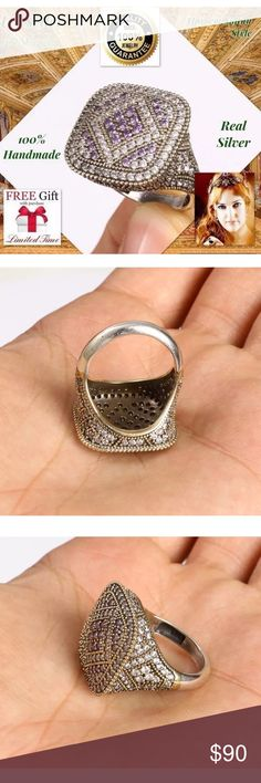 """Hard work😳925K REAL SILVER RING HANDMADE size 9 + FREE GIFT! DESCRIPTION: Size: 9 Metal: 925 Sterling Silver/Brass  Stone: Topaz, AMETHYST Head Size: 0.87"""" Weight: 10,26 grams Made From Turkey Handmade High QualityWorkmanship The Photos in Our Auctions Are Of The Actual You Receive (MUCH BETTER THAN PICTURES) All our products are individually 925 for silver purity.  All items sold are brand new. Package Include: 1pc Ring + Limited time free nano microfiber cleaning cloth $19.99 value…"""