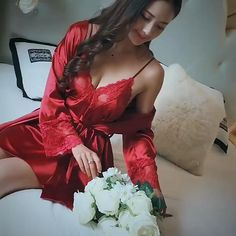Women Lace 2pcs Robe Set Sexy Bride Bridesmaid Wedding Robe Bathrobe Casual Home Clothing Intimate Lingerie Loose Nightgown Elegant Lingerie, Satin Lingerie, Pretty Lingerie, Sexy Night Dress, Night Dress For Women, Night Gown, Bridal Nightwear, Ropa Interior Babydoll, Lingerie Outfits