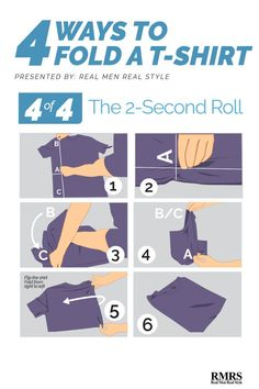 Folding T-Shirts 2 Second Roll - With a little bit of practice – you can become lightning fast at this method. There is truly no faster way to fold a shirt. T Shirt Folding, Folding Jeans, How To Fold Jeans, Real Men Real Style, Fashion Infographic, Thing 1, Clothing Hacks, Fashion Advice, Fashion Guide
