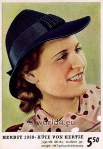German Hat and Hairstyles 1938. Third Reich woman style, makeup and dress. make up and dress. Costume and fashion during world war 2