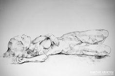 SketchBook Page 40 – Lying Girl Charcoal Drawing by Dimitar Hristov (54ka)