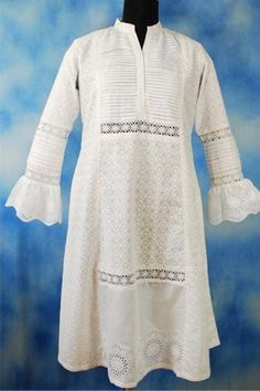 Dark Blue Short Kurti with Yoke Print designed By Harmeen. Browse through for more latest fashion collection. White Eyelet Dress, White Tunic, Lace Tunic, White Lace, Silk Kurti, Lucky Colour, Summer Tunics, Printed Kurti, Embroidery Suits