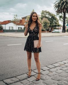 Tobi dress, Novo shoes – not available online (similar here & here), Forever New clutch Happy Friday! Neon Prom Dresses, Sherri Hill Prom Dresses, Quinceanera Dresses, Sparkly Dresses, Dance Dresses, Black Sparkly Dress, Black Lace Mini Dress, Frock Fashion, Fashion Dresses