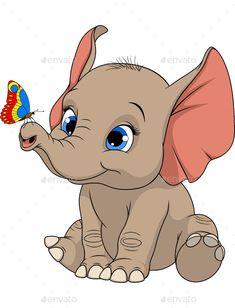 Funny kid elephant vector image on VectorStock Brain Illustration, Elephant Illustration, Cute Illustration, Disney Drawings, Cute Drawings, Animal Drawings, Elephant Art, Elephant Sketch, Cartoon Elephant Drawing