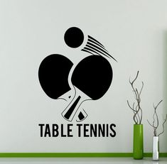 Table Tennis Logo Wall Sticker Sports Ping by AwesomezzDesigns