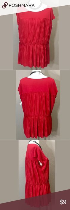 """Merona woman's Top, Size 1 Merona Red top size 1 new without tags never worn  Fabric 65% polyester, & 35% rayon,  Measurements taken laying flat  Bust: 42"""" Length: 27"""" Arrives clean and ready to wear from a smoke free environment Merona Tops Blouses"""