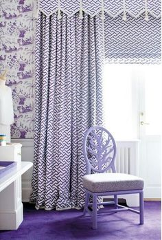 "Drapes and Roman Shade are in Aga Purple and Wallpaper is Quadrille Tableau (House Beautiful October Horn)""Derya'lı fikirler"" püf nokta Purple Rooms, Custom Window Treatments, Window Styles, Drapes Curtains, Valances, Bright Curtains, Geometric Curtains, Purple Curtains, Drapery Fabric"