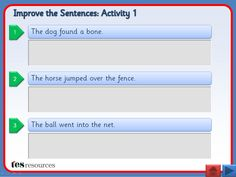 Interactive teaching activity. Each slide contains three simple sentences, which can be improved by adding or changing adjectives and/or adverbs. Underneath each sentence, there is a live text box that can be typed in while the presentation is running. This can be used to model the activity or crowd source ideas. There are supporting worksheets, including editable versions, included.