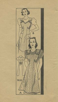 Vintage Apron Sewing Pattern | Mail Order 9628 | Year 194? | Size Small 32-34
