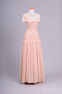 1940's Peach Lace Vintage Wedding Gown : Mill Crest Vintage
