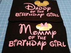 Mommy & Daddy of the Birthday Girl, Mouse silhouette Mommy Daddy couple's Tshirts set black with light pink and gold by WestEnderleBoutique on Etsy Minnie Y Mickey Mouse, Minnie Mouse 1st Birthday, Baby Girl 1st Birthday, First Birthday Parties, First Birthdays, Second Birthday Ideas, Alice, Mousse, Mouse Silhouette