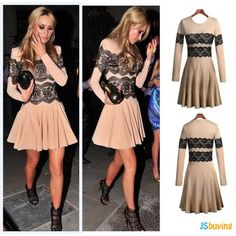long sleeve knee length patchwork lace dress plus size women dresses new fashion 2014 casual dress-in Dresses from Apparel & Accessories on . Office Dresses For Women, Party Dresses For Women, Clothes For Women, Elegant Woman, Vestidos Vintage, Vintage Dresses, New Dress, Lace Dress, Vestido Casual