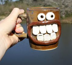 Funny and Unique Wheel Thrown Pottery Mug by NelsonStudio on Etsy