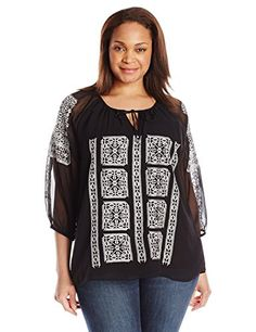 8312fe18ed Calvin Klein Women s Plus Size Blouse with Embroidery