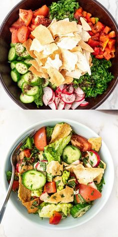 This easy to make, homemade Lebanese Fattoush Salad is made with simple healthy ingredients and a bright zesty dressing. Serve the salad as a side or as a light main course. #fattoush #salad #lebanese A Food, Good Food, Mediterranean Diet Recipes, Middle Eastern Recipes, Vegetable Recipes, Salad Recipes, Salads, Dressing, Bright