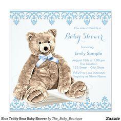Blue Teddy Bear Baby Shower Invitation