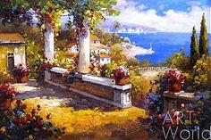 """картина масло холст Пейзаж маслом """"Средиземноморский полдень"""", Анджей Влодарчик, LegacyArt"""