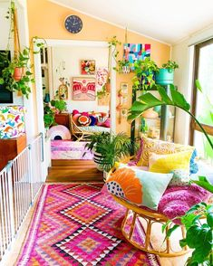 Colourful Living Room, Eclectic Living Room, Boho Living Room, Eclectic Decor, Living Room Decor, Bedroom Decor, Funky Bedroom, Colorful Rooms, Funky Home Decor