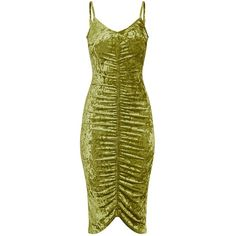 Lia Olive Green Crushed Velvet Ruched Midi Dress ($9.89) ❤ liked on Polyvore featuring dresses, calf length dresses, midi dress, ruching dress, mid calf dresses and green ruched dress
