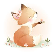 Watercolor Flower Background, Floral Watercolor, Doodles Bonitos, Baby Unicorn, Hand Drawn Flowers, Cute Doodles, Cute Cartoon Wallpapers, Flower Backgrounds, Floral Illustrations