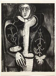 Femme Au Fauteil No 1 (2nd Red Slate) 1948 Pablo Picasso