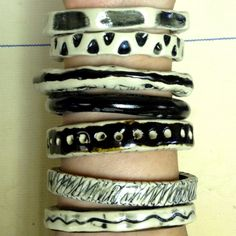 My ceramic bracelets came out of the kiln today.