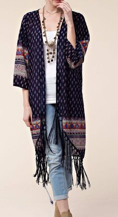 Boho Summer to Fall Kimono - Perfect for those cooler late summer nights or summer to fall transistion-Makes the best swimsuit cover up! You name it this kimono is veratile and the colors go with anything! Boho up your wardrobe this one is a power piece that every fashion savy gal needs!  Description: Printed Fringe Kimono - On Sale for $32.00 (was $44.00)