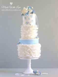Frills and Forget-Me-Nots Cake - Cake by Pamela McCaffrey